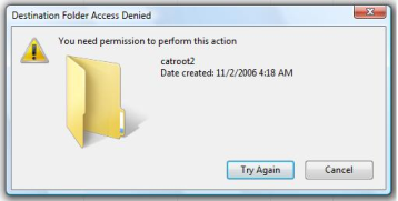 'Destination Folder Access Denied - You need permission to perform this action