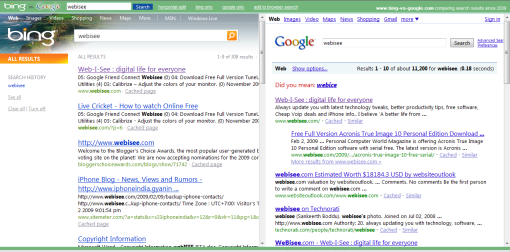 bing vs google search results