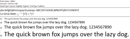 Calibri font