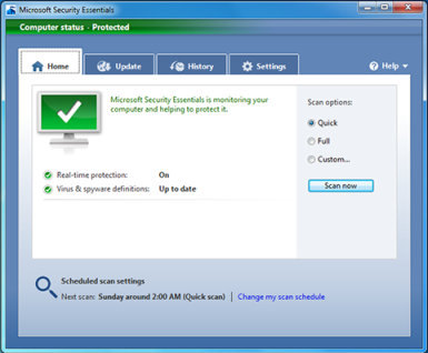 Microsoft Security Essentials interface