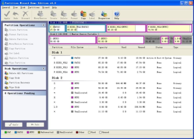 Partition Wizard Home Edition gui