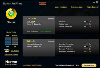 Norton Antivirus 2010 interface
