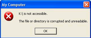 The file or disk structure is corrupted and unreadable