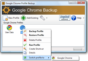 Google Chrome Backup interface