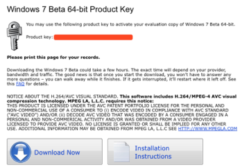 Windows 7 beta key
