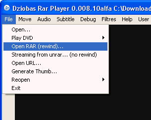 Dziobas Rar Player interface