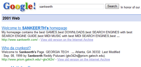 Google Search page 2001
