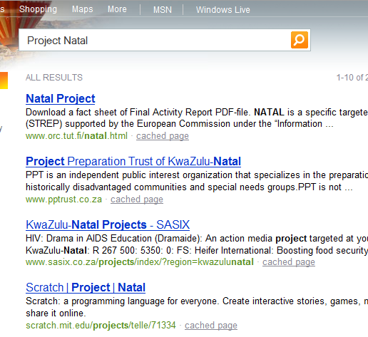 Bing Realtime Search Results