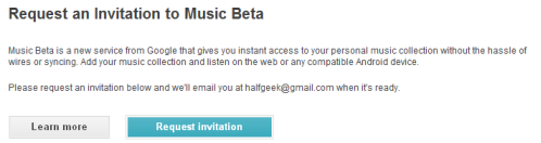 Google Music invite